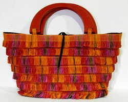 Multi Colored Handmade Paper Woven Small w Red Wood Handles