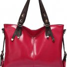 Fuchsia Faux Leather Buckle Accent Stylish Tote Handbag