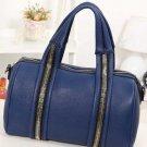 Blue Faux Leather Zipper Top Handle Tote Handbag