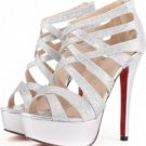 Silver Faux Leather Glitter Strappy Gladiator Platform Heels(US7)