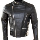 mens new classic vintage motorcycle fashion real leather jacket