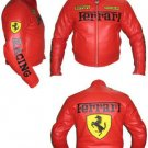Mens handmade Ferrari Motorcycle Leather Jacket Feerari Biker Racing Jacket