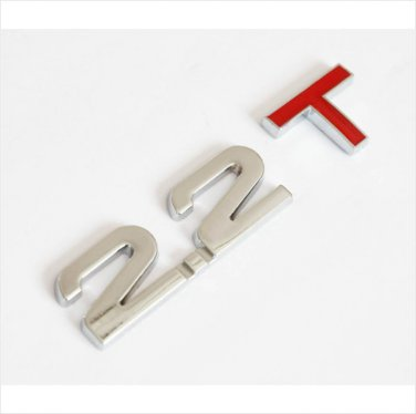2.2 T Metal Chrome 3D Car Badge / Adhesive Badge Sticker Decor