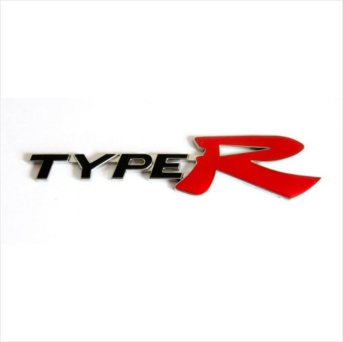 HONDA TYPE R Metal 3D Rear Badge Emblem Sticker BLACK / RED