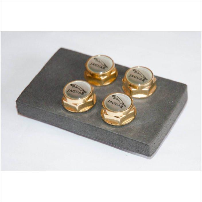 JAGUAR 4 pcs Set 24K Gold Plated License Plate Frame Bolts Screws
