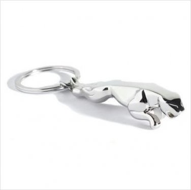 Jaguar Leaping Cat Chrome Metal Keyring
