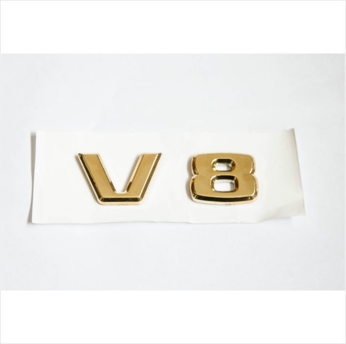 MERCEDES BENZ AMG V8 24K Gold Plated Trunk Rear Emblem Badge