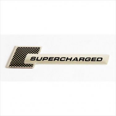 SUPERCHARGED Aluminium 3D Car Badge Carbon Fiber