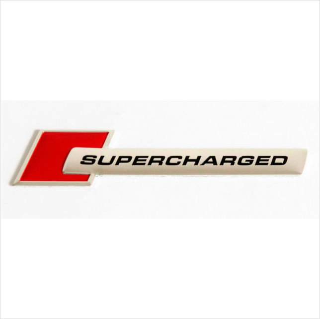 SUPERCHARGED Aluminium 3D Car Badge Red