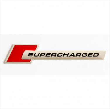 SUPERCHARGED Aluminium 3D Car Badge Red