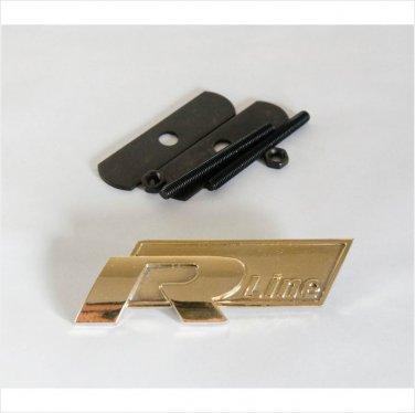 VW Audi R Line 24K Gold Plated Metal 3D Grill Badge Emblem