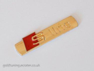 AUDI S Line 24K Gold Plated Metal 3D Badge Emblem Sticker