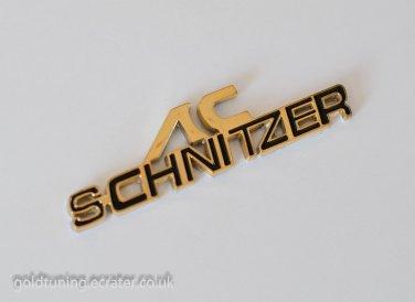 BMW AC SCHNITZER 24K Gold Plated 3D Badge Emblem Sticker Black