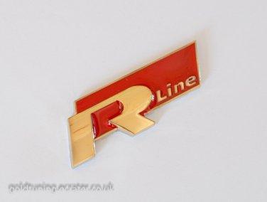 VW Audi R Line 24K Gold Plated 3D Badge Emblem Sticker Red