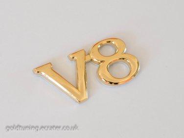 V8 24K Gold Plated 3D Metal Car Badge / Sticker Decor