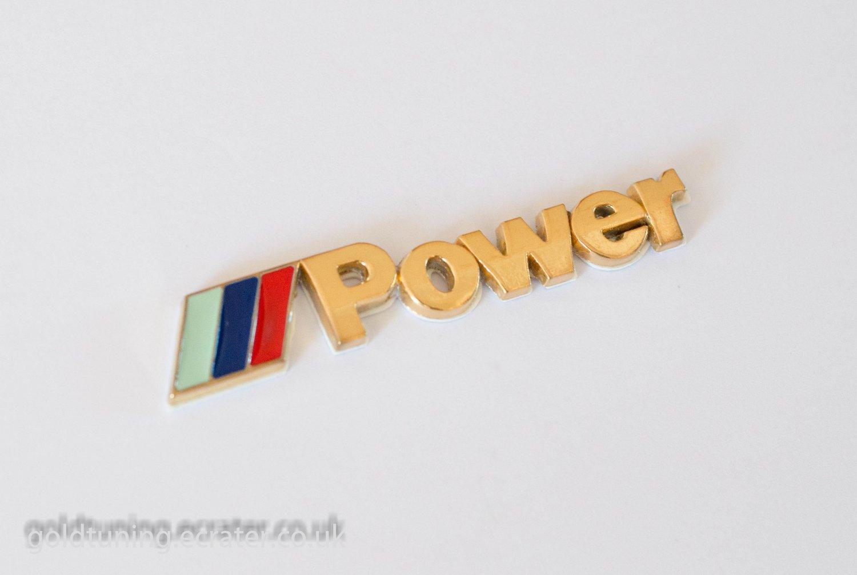 BMW ///M-Power 24K Gold Plated 3D Rear Badge / Emblem Sticker