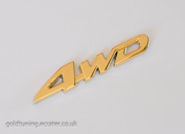4WD 24K Gold Plated 3D Car Badge / Adhesive Badge Sticker Decor