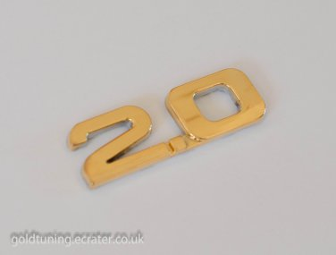2.0 24K Gold Plated 3D Car Badge / Adhesive Badge Sticker Decor