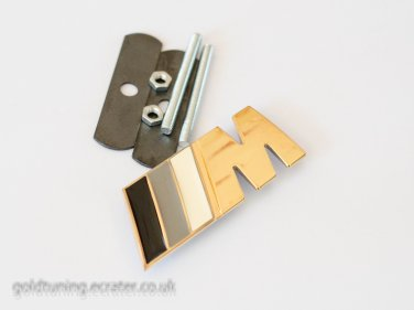 BMW ///M-tech 24K Gold Plated 3D Grill Badge / Gray