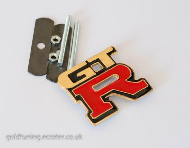 GTR 24K Gold Plated 3D Grill Badge Emblem / RED