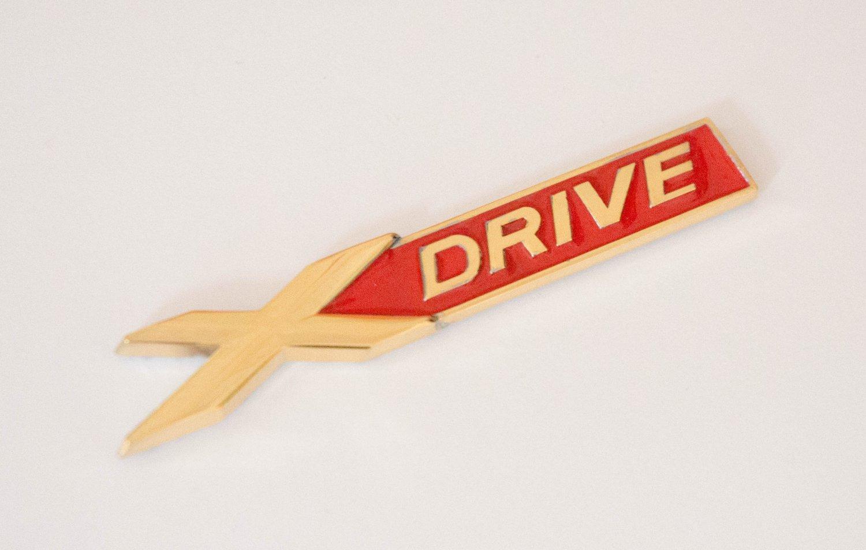 BMW X-DRIVE 24K Gold Plated Metal 3D Badge / Emblem Sticker Red