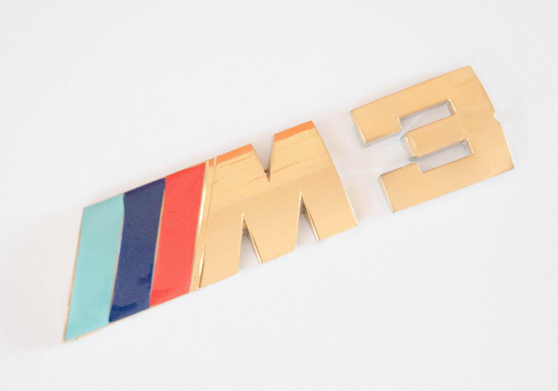 BMW ///M3 24K Gold Plated Metal 3D Rear Badge / Emblem Sticker Blue