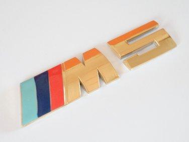 BMW ///M5 24K Gold Plated Metal 3D Rear Badge / Emblem Sticker Blue