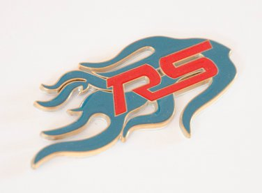 Ford RS Fire Flame 24K Gold Plated 3D Badge Emblem Sticker Blue