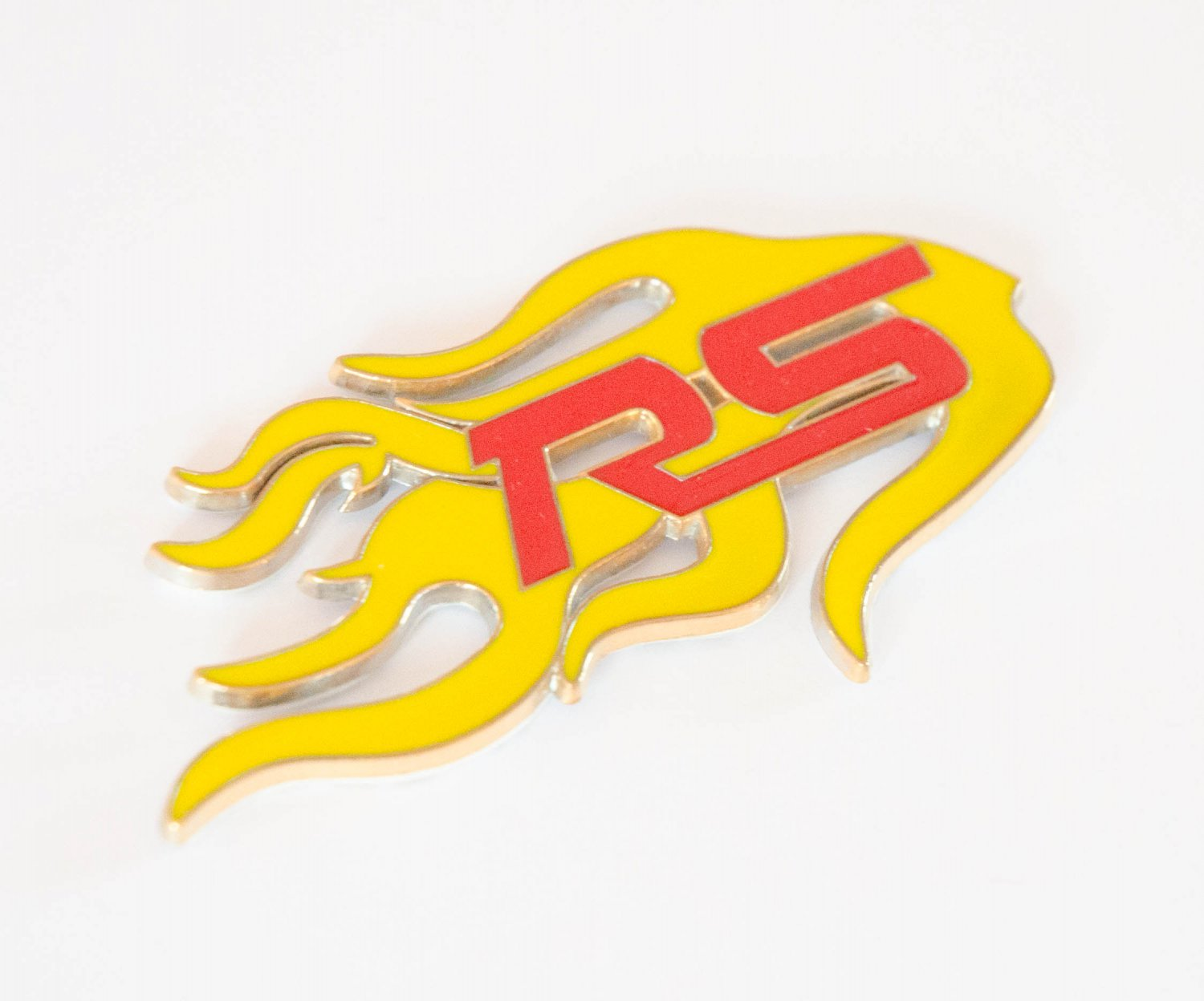 Ford RS Fire Flame 24K Gold Plated 3D Badge Emblem Sticker Yellow