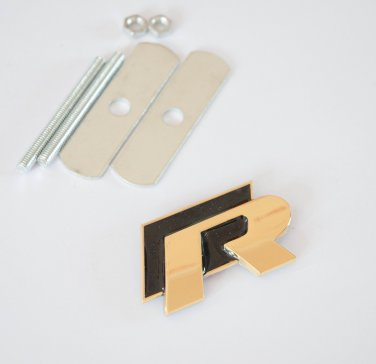 VW R 24K Gold Plated Metal 3D Grill Badge Emblem Black