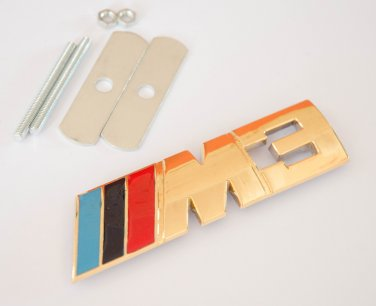 BMW ///M3 24K Gold Plated Metal 3D Grill Badge / Emblem