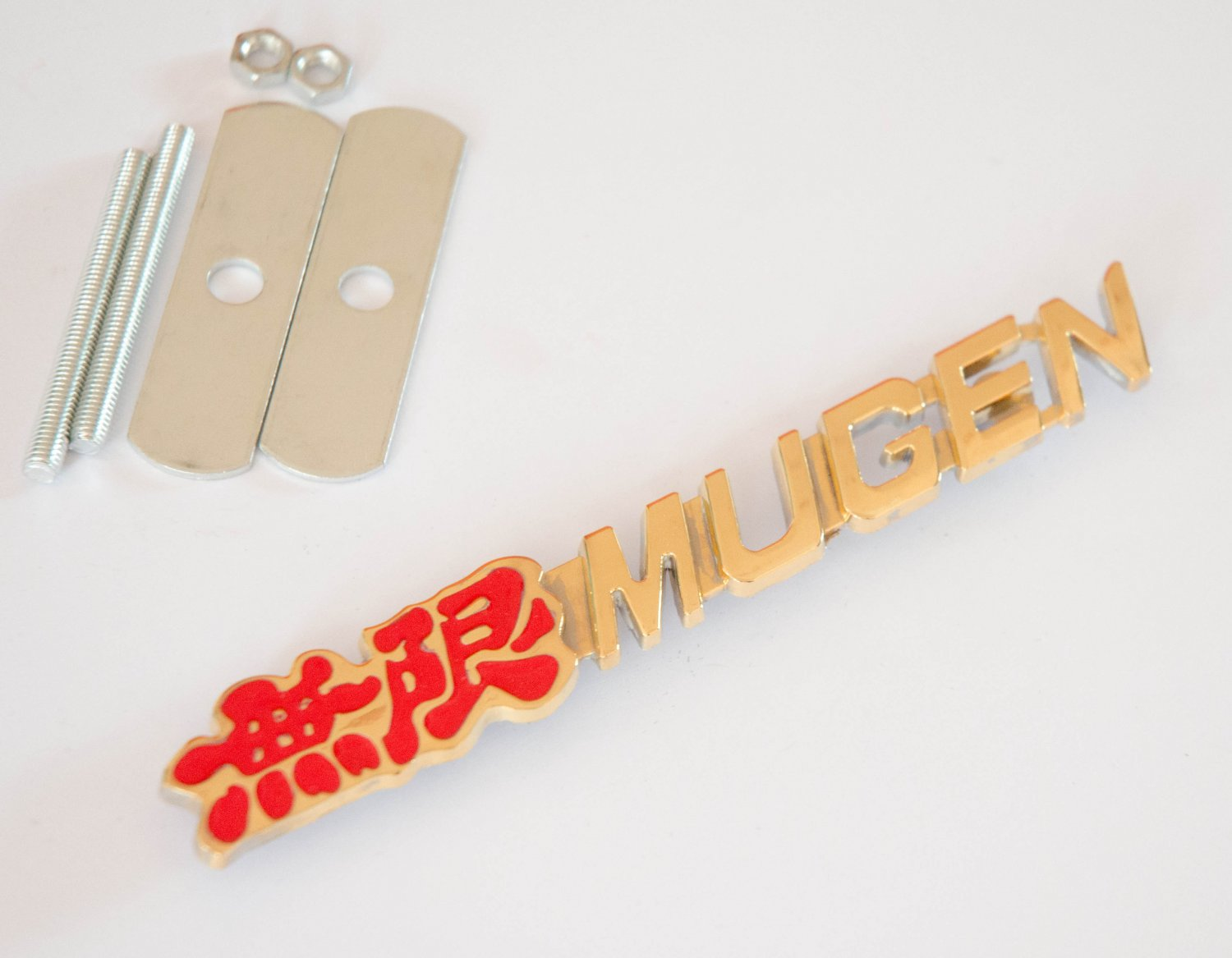 HONDA MUGEN 24K Gold Plated Metal 3D Grill Badge Emblem / RED