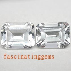 10.95CT PAIR BEAUTIFUL WHITE RECTANGLE ZIRCON