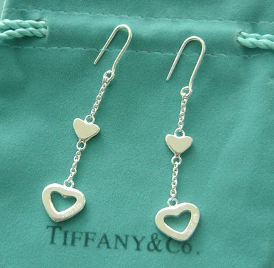 Amazing Sterling new style long chain heart dangling earrings