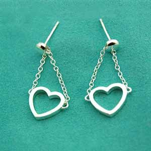 Amazing Sterling new style heart dangling earrings