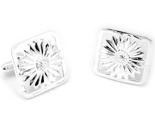 Beautiful Sterling silver chrysanthemum cuff button jewelry