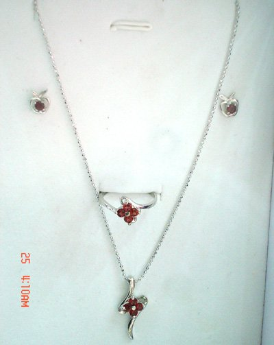 100% natural red garnet and sterling silver sets