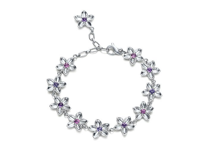 Beautiful 925 Sterling silver chain flower bracelet,new arrival!