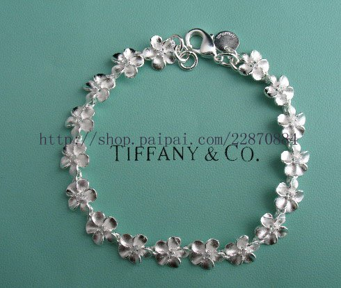 Beautiful 925 Sterling silver flower chain  bracelet,new arrival!