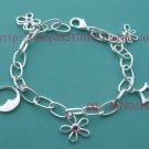 Beautiful 925 Sterling silver  butterfly flower bracelet,new arrival!