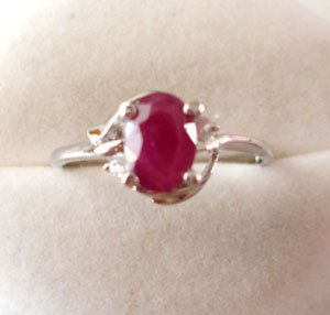 100% natural red ruby and sterling silver ring