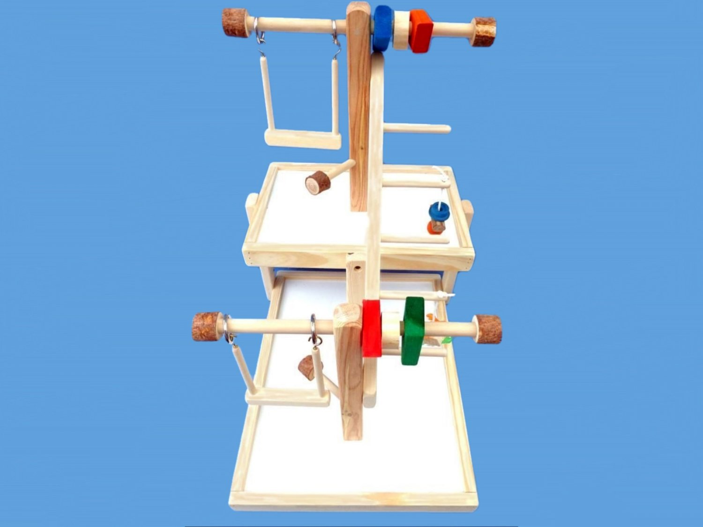 bird toy play gym-double decker-multiple birds