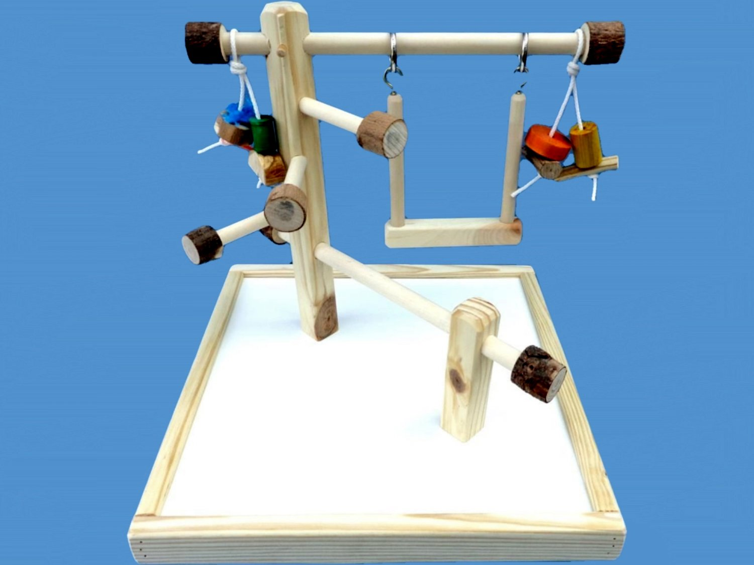 parrot play gym with base,swing,chew toys-handmade twin mount