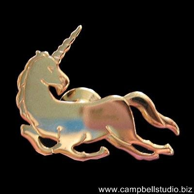 Unicorn Engraved Tack Pin~Brooch Gold Tone