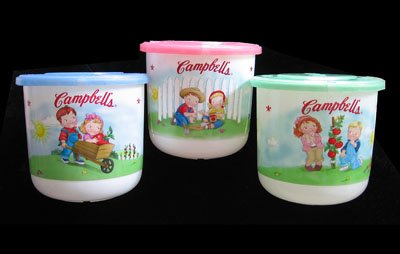 Campbell Kids Microwaveable Drink Mugs 6 Piece Set w/Lids