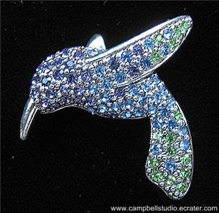 Monet Hummingbird Blue/Green/Purple Crystal Pin/Brooch in Mint Condition