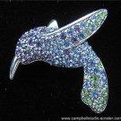 Monet Hummingbird Blue/Green/Purple Crystal Pin/Brooch in Mint Condition