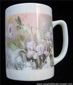 Hummingbird Iris Flower Ceramic Coffee Drink Mug 10oz Near Mint Condition