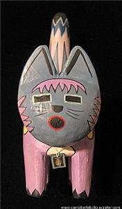 Aztec Painted Cat Figurine with Skeleton Fish DogTag NM