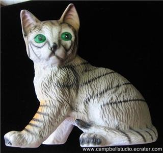 Bisque Grey Domestic GreenEye Tiger Stripe Cat Figurine